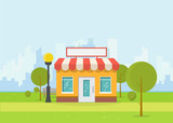Online store building. Store building near park with trees and big city skyscrapers on background. Flat vector illustration. Tree and bushes with street lamp. Trendy retro color style. - 187091768