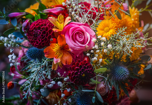 Leinwandbild Motiv Beautiful, vivid, colorful mixed flower bouquet still life detail