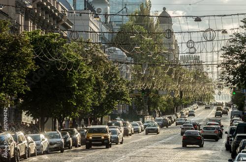 Fotobehang Kiev Street in the center of Kiev - the capital of Ukraine.