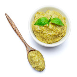 Pesto Sauce with Basil and wooden spoon on White Background Studio shot - 187098186