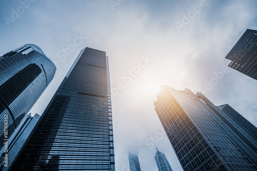 Skyscrapers from a low angle view in Shanghai, China.