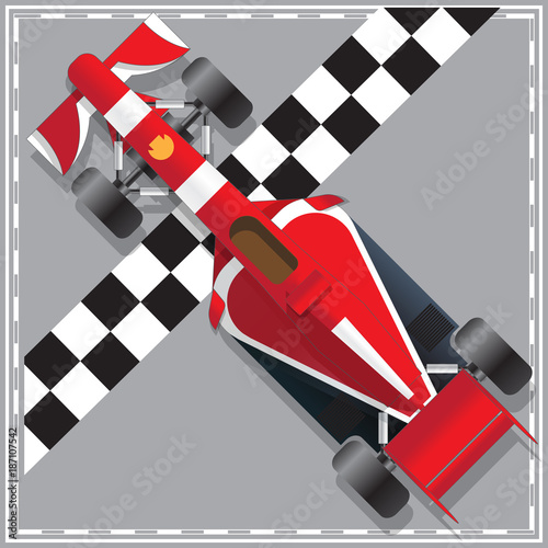 Foto op Canvas F1 Racing car. View from above. Vector illustration