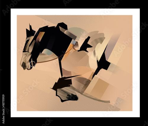 Foto op Aluminium Art Studio Horse jumping