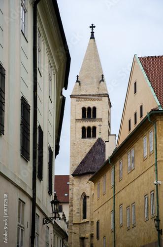 Foto op Canvas Praag Narrow Prague Street in old Town