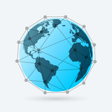 Globe with lines and dots. Internet and network around the Earth concept.