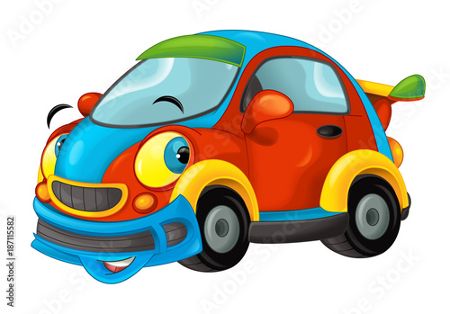 Cartoon sports car smiling and looking - illustration for children - 187115582