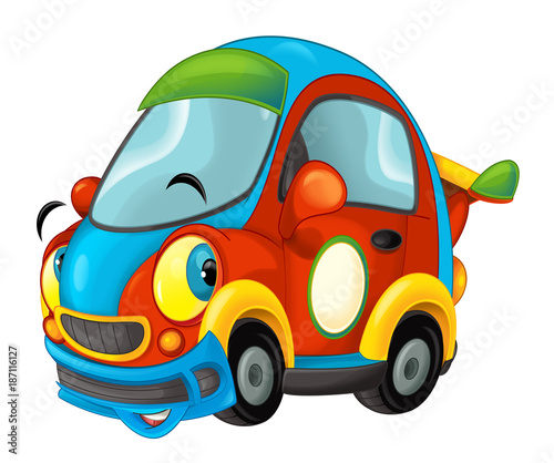 Cartoon sports car smiling and looking - illustration for children - 187116127