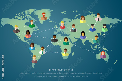 Diverse people and world map of the Earth concept. Dotted line as world wide connection, networking and communication symbol.