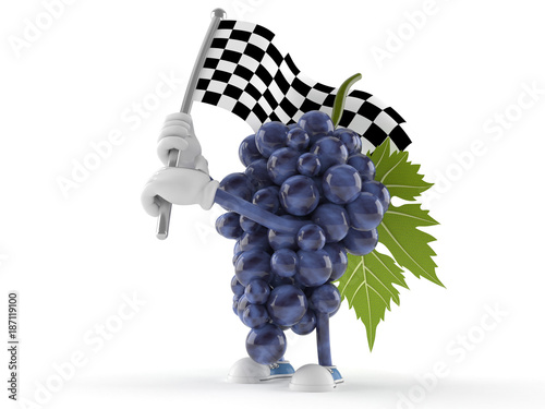 Grapes character waving race flag