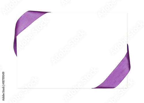 Purple silk ribbon corners and white card