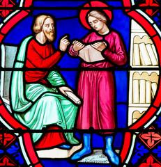 Stained Glass - Saint Manveus or Manvieu, bishop of Bayeux