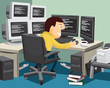Programmer and developer of applications and software. Network manager. Simple cartoon vector illustration.