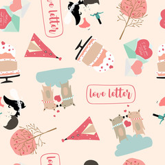 Pink love collection for banners,Placards with cake,letter,ribbon,bear,heart,bride and groom