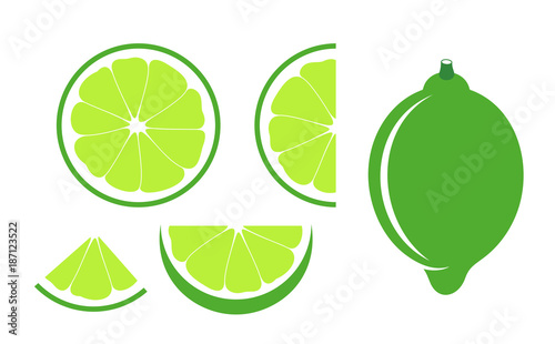 Lime set. Isolated lime on white background - 187123522