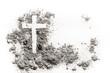 Leinwandbild Motiv Christian cross or crucifix drawing in ash, dust or sand