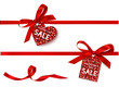 Decorative horizontal red ribbon with bow and holiday sale tag for Valentine's day. Vector decoration and heart label