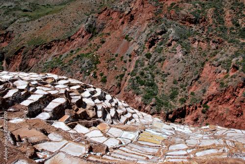 Foto op Aluminium Cappuccino Salt Ponds in Maras, Urubamba province near Cuzco, Peru