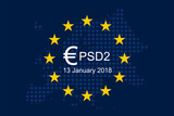 Payment Services Directive 2 (PSD2) on European Union Flag - 187132153