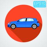 Passenger car icon. Vector eps10 illustration in flat design - 187136764