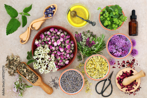 Herbal medicine preparation with fresh herbs and flowers, aromatherapy essential oil, mortar with pestle and scissors on hemp paper background. Top view. - 187136776