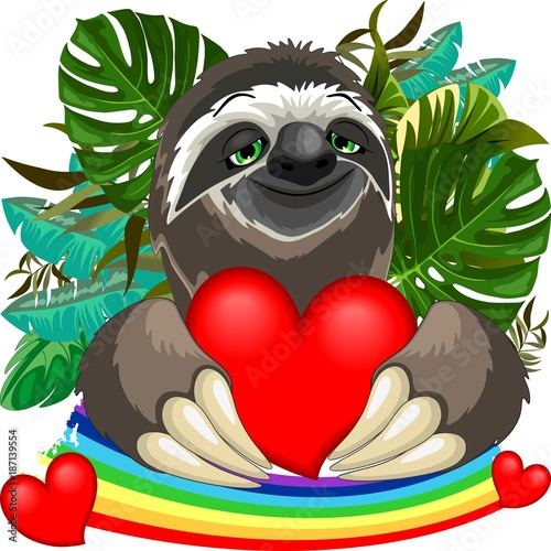 Foto op Canvas Draw Cute Sloth in Love