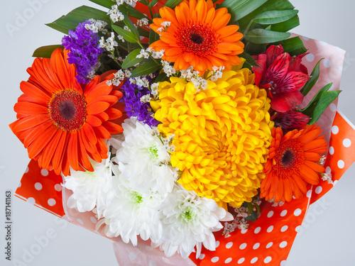Fotobehang Gerbera bouquet of flowers from red gerberas and chrysanthemums