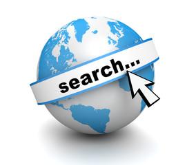 search globe concept       3d illustration