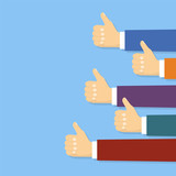 Thumbs up background in flat design style. Vector Illustration - 187148902