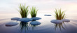 Leinwanddruck Bild - Steine mit Gras im See 3