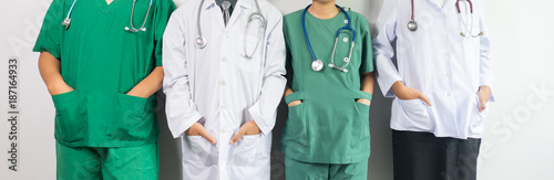 Foto Murales Doctors and nurses coordinate  Concept of Teamwork, happy doctors working together as team for motivation, success medical health care for banner