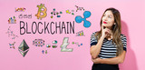 Blockchain with young woman in a thoughtful pose - 187167950