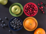 Fresh Fruits In Colorful Bowls - 187169362