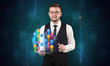 Man holding tablet with hologram app icons above
