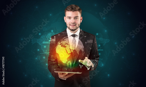 Spectacled businessman with tablet and apps above