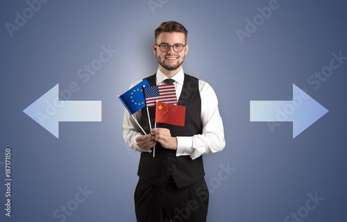 Foto Murales Handsome boy choosing target country