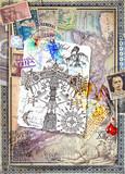 Sfondo vecchio stile con tarocchi,antichi manoscritti,mappe,disegni misteriosi ed esoterici e vecchi documenti
