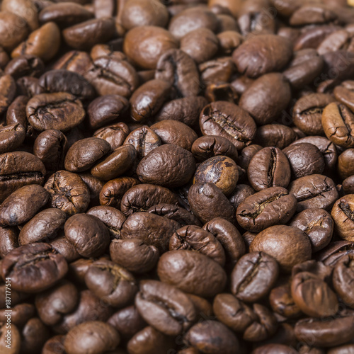 Fotobehang Koffiebonen Many roast brown coffee grains texture close up on an abstract background