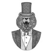 Brown bear, Russian bear. Animal wearing jacket with bow-tie and silk hat, beaver hat, cylinder top hat. Elegant vintage animal. Image for tattoo, t-shirt, emblem, badge, logo, patch