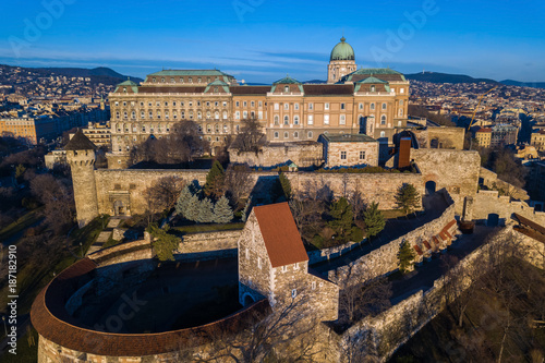 Papiers peints Budapest Budapest, Hungary - Aerial view of Buda Castle Royal Palace early in the morning with clear blue sky