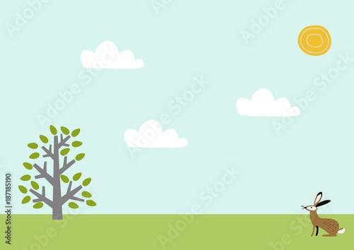 Aluminium Lichtblauw 野兎と春の景色。風景。季節と自然のイラスト。素材。