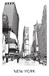 New York City, Times square. Vector drawing of a street in downtown in engraving style. Black and white illustration of cityscape of famous place.