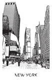 New York City, Times square. Vector drawing of a street in downtown in engraving style. Black and white illustration of cityscape of famous place. © mivod