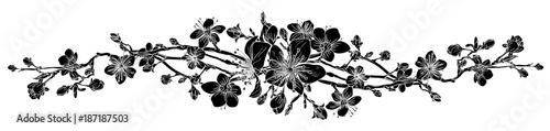 Peach Cherry Blossom Flower Pattern Design Element
