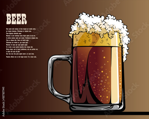 Aluminium Vintage Poster Illustrated poster of mug with beer