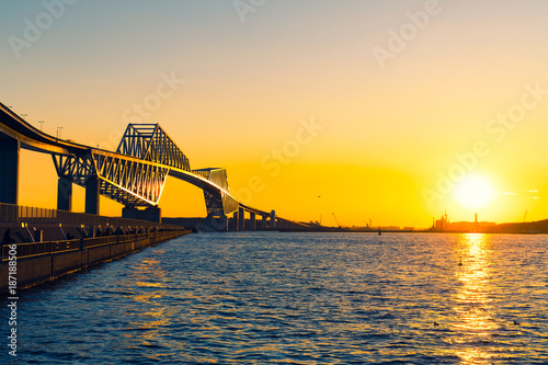 Fotobehang Oranje Tokyo landmark , Tokyo Gate Bridge in Tokyo Japan Sunset panorama