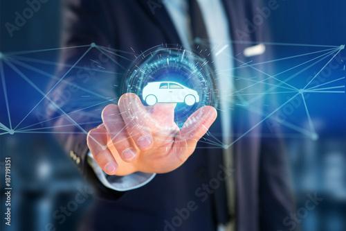 Car icon on a futuristic interface - 187191351
