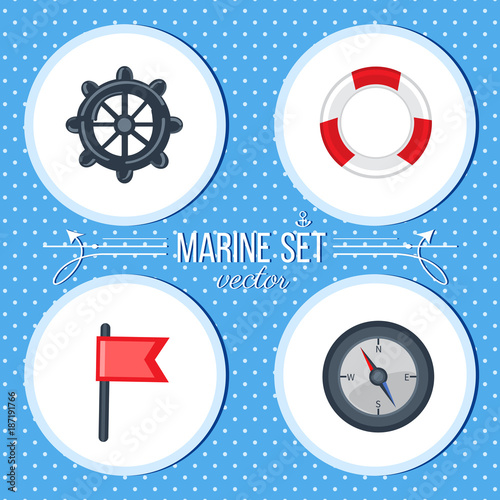 Marine vector cartoon set lifeline, steering whell, flag, compass colorful illustration isolated on blue background, summer decorative texture design for label, sea backdrop, wrapping paper, cards