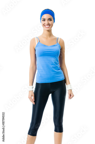 Poster Full body of smiling woman in sports wear, isolated