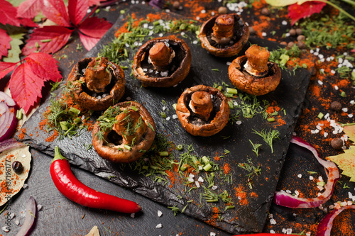 Foto Murales healthy grilled champignon food photography. proper nutrition lifestyle. vegetarian organic eating.