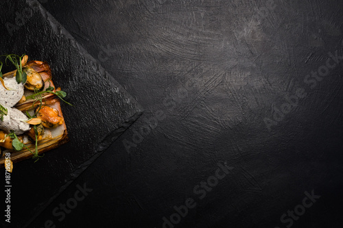 restaurant gourmet food on dark background. free space concept. delicious delicacy